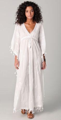 @roressclothes clothing ideas   #women fashion white long dress Melissa Odabash Safia Caftan