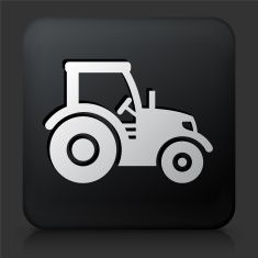 Black Square Button with Tractor vector art illustration