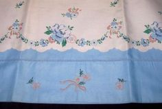 Unused Vintage Blue Cotton Floral Stadard Size Pillowcases Pink Embroidery…