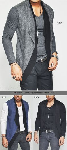 Outerwear :: Cardigans :: Dual Built-in Knit Cardigan Layered Silket-Tee 236 - Mens Fashion Clothing For An Attractive Guy Look