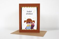 "Greeting Card - Papeterie. Folded greeting card ""Finally a school girl"" incl. corresponding envelope in size DIN A6. Printed on high quality recycled paper.  2,80 € incl. VAT plus shipping costs."