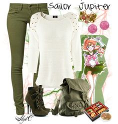 leighlalu:   Sailor Jupiter Inspired Outfit par rubytyra utilisant bottines ❤ liked on Polyvore HM chemises manches 34, $40 / Mavi jea...
