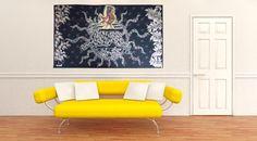 Soleil de minuit, tapisserie d'Aubusson tissée par l'atelier Tabard. Avec son bolduc. Circa 1950.    L'Œuvre de Lurçat est immense : c'est toutefois son rôle dans la rénovation de l'art de la tapisserie qui lui vaut d'être passé à la postérité. Dès 1917, il commence par des œuvres au canevas, puis, dans les années 20 et 30, il travaillera avec Marie Cuttoli. Sa première collaboration avec les Gobelins date de 1937, alors qu'il découvre ... Lire la suite sur www.latapisserie20e.com