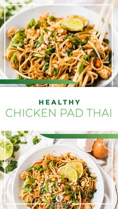 Looking for healthy recipes to add to your meal plan? Healthy Chicken Pad Thai is bursting with protein-packed eggs and chicken, plus plenty of yummy veggies.