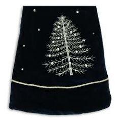 Navy Blue Velvet tree skirt at the Santa Claus Christmas Store.