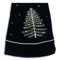 Navy Blue Velvet tree skirt at the Santa Claus Christmas Store.