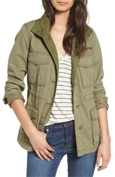 Classic military detailing-from a plethora of pockets to a stand-up collar and faux name patch-adds utilitarian character to this olive field jacket that's sure to become a closet staple this fall. Fall Wardrobe Essentials, Summer Wardrobe, Capsule Wardrobe, Wardrobe Ideas, Military Jacket Outfits, Nordstrom Anniversary Sale 2017, Nordstrom Sale, Field Jacket, Utility Jacket