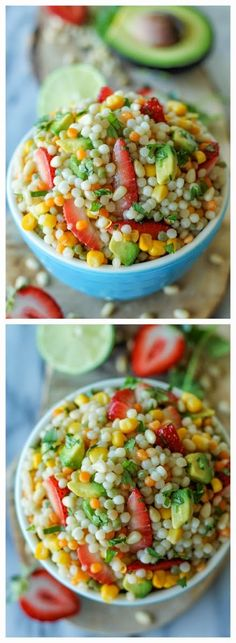 INGREDIENTS   1 cup couscous  1 avocado, halved, seeded, peeled and diced  1/2 cup corn kernels  1/2 cup strawberries, quartered  2 ta...