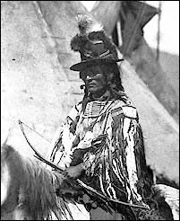 Chief Looking Glass, Nez Perce, 1877, photographer unknown. Looking Glass (aka Allalimya Takanin) (c.1832-1877) was the war chief who, along with Chief Joseph, directed the 1877 Nez Percé retreat from eastern Oregon into Montana and on toward the Canadian border. The son of a prominent Nez Percé chief, Looking Glass was born around 1832 in what is now western Montana. (...) He was killed by a Cheyenne scout.