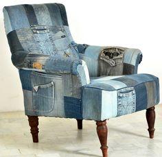 Sessel mit recyceltem Jeansstoff – Wood Möbel