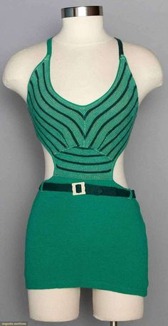 Lady's Green Wool Swimsuit, 1930s, Augusta Auctions, November 12, 2014