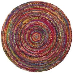 Safavieh Braided Hand-Woven Cotton Red / Multi Area Rug (6' Round)