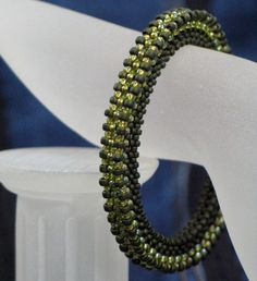 Seed Beaded Bangle Bracelet Beadwoven Rigid Cubic RIght Angle Weave