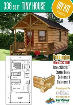 Highly affordable small and tiny log cabin kits that you can assemble yourself in days! Small Cabin Plans, Small Log Cabin, Cabin Floor Plans, Little Cabin, Tiny House Cabin, Tiny House Living, Tiny House Design, Small House Plans, Cabin Homes
