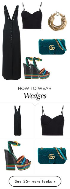 """Untitled #739"" by crazybookladysuzejn on Polyvore featuring Lanvin, Alexander Wang, Sergio Rossi, Gucci, Rosantica, pinafores and 60secondstyle"