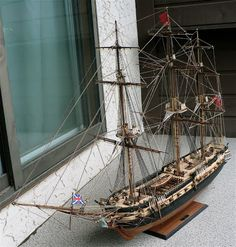 According to the clock this model took me about 480 hours to construct which of course is faster then I expected. Scale Model Ships, Scale Models, Wooden Model Boats, Master And Commander, Old Sailing Ships, Canadian Models, Mysterious Places, Wooden Ship, Nautical Art