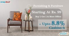 Buy 1 and get 1 free on home furnishing and furniture products @Snapdeal  get upto 8.8% extra cashback from us >> http://ift.tt/1QrGExj  #home #furniture #furnishing #snapdeal #cashbackoffers #cashback #snapdealoffers
