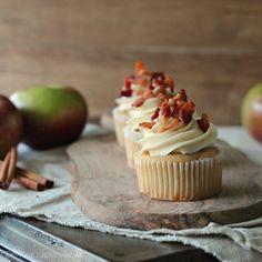 Apple Cinnamon Pancake Cupcakes with Crispy Bacon Sprinkles