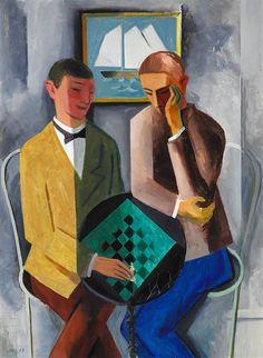 kafkasapartment:  The Chess Players,1919. Jais Nielsen.:Oil on canvas.