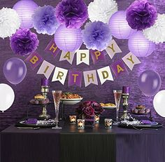 Tissue Paper Flowers Ball Pom Poms Mixed Paper Lanterns Craft Kit for Lavender Purple Themed Birthday Party Decor Baby Shower Decor Bridal Shower Decor Wedding Party Decorations Purple Birthday Decorations, Homemade Birthday Decorations, Purple Happy Birthday, Decoration Birthday, Bridal Shower Decorations, Birthday Party At Home, 30th Birthday Parties, Birthday Diy, Birthday Party Themes
