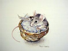 ratoncillo durmiendo un una nuez...ilustración digna de un cuenta de hadas