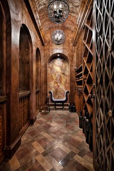Wine cellar design. Cork tiles are perfect for wine cellars obviously. Just think about the softer cork flooring in this same tile layout.  www.CorkFloor.com