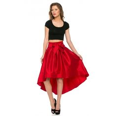 High-Low Taffeta Pleated Midi-Skirt in Red ($30) ❤ liked on Polyvore featuring skirts, mid calf skirt, hi low skirt, taffeta skirt, knee length pleated skirt and red pleated skirt