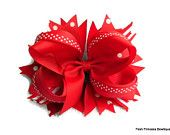 Girls Hair Bows Boutique Hair Bow Stacked hair bow red bow Red boutique hair bow Stacked hair bow with loops and spikes