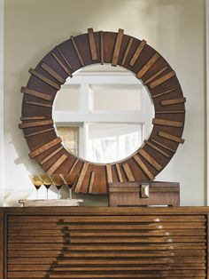 Tommy Bahama Round Mirror with Slat Pattern in Dark Hickory from the Collection Island Fusion