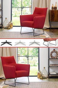 Der bequeme DFM Sessel in Rot ist nicht nur dein neuer Lieblingsplatz im Wohnzimmer, sondern er frischt die Einrichtung auch gelungen auf und bringt Retro-Flair in den Raum.  Der rote Sessel mit niedriger Rückenlehne und Metallgestell passt perfekt zum Mix aus Vintage und moderner Eleganz.  Mit Hocker, weiteren Fußvarianten & Bezügen erhältlich. Simply Red, Retro Chic, Modern, Design, Vintage, Apartment Ideas, Sofa Set, Indoor, Living Area