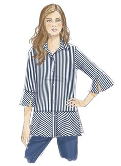 Butterick shirt pattern has cool seaming and sleeve variations. Great for cotton shirting fabrics. B6376