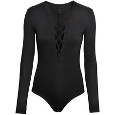 H&M Long-sleeved body (€27) ❤ liked on Polyvore featuring intimates, shapewear, bodysuits, tops, body, shirts and black