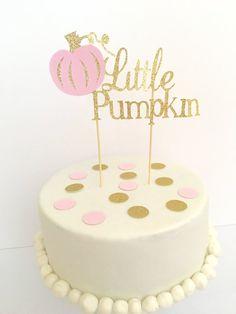 Little Pumpkin Glitter Cake Topper ~ Little Pumpkin First Birthday Pink and Gold…