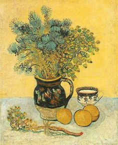 Vincent van Gogh (Dutch, Post-Impressionism, 1853-1890): Still Life, Majolica Jug with Wildflowers; 1888. Oil on canvas, 55.0 x 46.0 cm. The Barnes Foundation, Philadelphia, Pennsylvania.