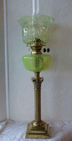Antique Glass Oil Lamp