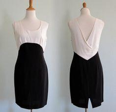 Vintage 1980s Dress - Sexy Black and White Dress by Byblos - 80s Mod Revival Dress S M via Etsy