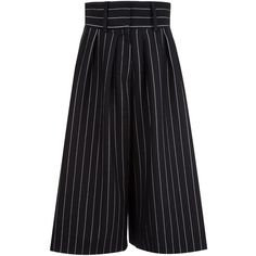 J.W.Anderson Pinstripe Culottes ($706) ❤ liked on Polyvore featuring pants, capris, black, wool pants, j.w. anderson, pinstripe pants, pinstripe trousers and wool trousers