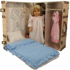 Vintage Map Design Doll Trunk with Bed for American Girl Dolls