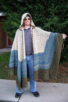This dude cracks me up, but the project is spot on perfect for winter time. Something to lounge around the house and keep warm. A pair of Uggs and you can go get the mail on a snowy morning. ;)Ravelry: Hooded Cloak pattern by Dillon Ekle