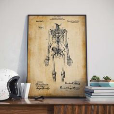 Skeleton Patent Poster Anatomy Art Classroom by HunnapPrintHouse
