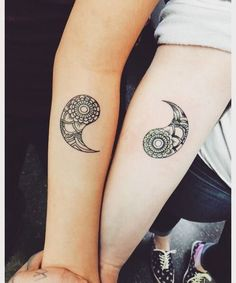 Separate Yin Yang tattoos on each arm. You can be artistic and ink the two aspects of the Yin Yang on one arm and one on the other. The intricate details on the Yin Yang elements also look amazing. Trendy Tattoos, Small Tattoos, Tattoos For Women, Tattoos For Guys, Unique Tattoos, Tattoos For Couples, Tattoos For Twins, Creative Tattoos, Yin Yang Tattoos