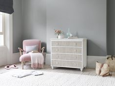 You get a lot of bang for your buck with this chest of drawers. From the grooved drawer fronts, to the aged paint finish and the handpainted inky blue interior! Pleated Curtains, Curtains With Blinds, Modern Rustic Decor, Comfy Sofa, Guest Bed, Dresser As Nightstand, Room Inspiration, Bedroom Decor, Master Bedroom