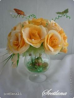 Свит-дизайн Бумагопластика: Розы на бокале Бумага гофрированная День рождения. Фото 1