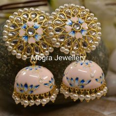 Oysters W Pearls. Jewelry cleaning Guidance: the way to clean jewelry Indian Jewelry Earrings, Indian Jewelry Sets, Jewelry Design Earrings, Indian Wedding Jewelry, Bridal Jewelry, India Jewelry, Silver Jewelry, Designer Earrings, 925 Silver