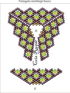 Multi tupi hueco.  Unir por el interior del triangulo aumentando en cada hueco una rocalla de 15.  y en el exterior un adelica unir parte trasera, otra delica y unir parte delantera, para que quede anguloso en el canto.  Blog: http://cristinarugar.blogspot.com.es/