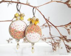 SALE! - Purple or Ecru Earrings with Multicolored Hand Embroidered Polymer Clay Dots. Beads - Tigers Eye, Agate, Quartz. Made to order.