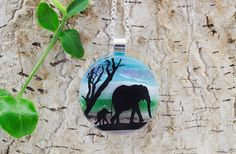 Elephant  Fused Glass Jewelry  Dichroic Necklace  by RLGlassArt