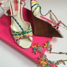 Betsey Johnson wedges Excellent condition worn just a few times . T strap style wedges Betsey Johnson Shoes Wedges