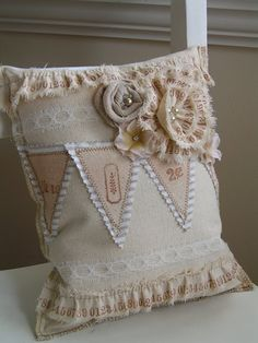 Tea Rose Home - her pillow has stamped canvas ruffles that she did herself. I adore this!