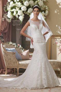Luxurious satin modified mermaid #weddingdress with lace illusion cap sleeves - stunning! {David Tutera for Mon Cheri}